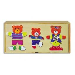 фото Пазл деревянный Рыжий кот «Семья медведей»