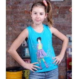 фото Майка для девочек Detiland SS15-UBL-GTP-951. Цвет: бирюзовый. Рост: 152 см
