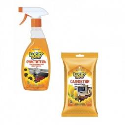 фото Набор для уборки Lucky Bee очиститель поверхностей LB 7500 и салфетки для интерьера LB 7303