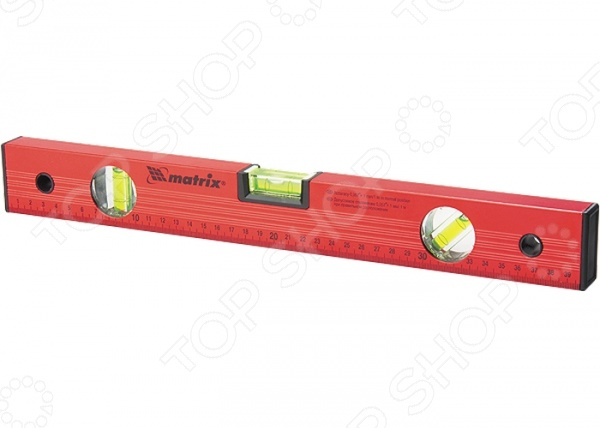 Уровень MATRIXУровни<br>Уровень MATRIX измерительный инструмент, используемый для проверки горизонтальности и вертикальности различных поверхностей и выявления их отклонений. Он станет отличным дополнением к набору ваших слесарных инструментов и пригодится при проведении ремонтных, строительных и отделочных работ. Уровень выполнен из упрочненного алюминиевого профиля и снабжен тремя пузырьковыми капсулами и боковыми пластиковыми заглушками. Точность измерений составляет 0,057 градуса.<br>