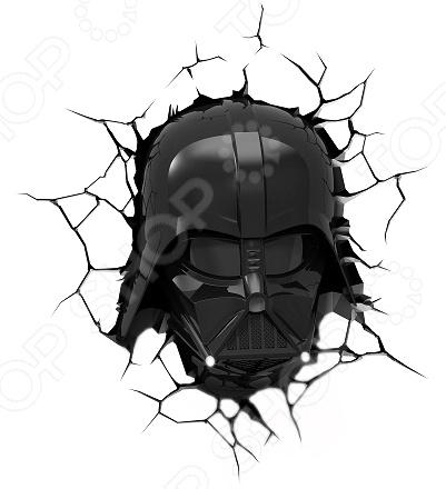 Пробивной светильник 3DlightFX Star Wars Darth Vader MaskНочники<br>Пробивной светильник 3DlightFX Star Wars Darth Vader Mask это изящный и стильный элемент интерьера детской комнаты. Представленная модель создает рассеянный, мягкий свет и поможет тем молодым родителям, чьи маленькие дети еще боятся темноты. Пробивной светильник 3DlightFX Star Wars Darth Vader Mask изготовлен из пластика и выполнен в виде маски одного из персонажей всемирно-известной саги Звездные войны . Он обязательно понравится ребенку и привнесет в его комнату атмосферу невероятный космических приключений. Благодаря особенностям конструкции, светильник долговечен и не нагревается, поэтому до него можно дотронуться в любой момент. Ночник выключается автоматически через 30 минут непрерывной работы. Модель работает от 3 батареек типа АА не входят в комплект . ВНИМАНИЕ! Содержит мелкие детали, использовать под непосредственным наблюдением взрослых.<br>