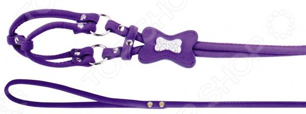 Шлейка с поводком DEZZIE «Косточка и стразы». Цвет: фиолетовый шлейка с поводком dezzie косточка и стразы цвет черный