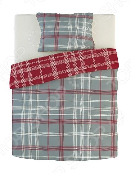 Фото Комплект постельного белья Dormeo Warm Hug. 1-спальный. Цвет: красный, серый. Вид: клетка