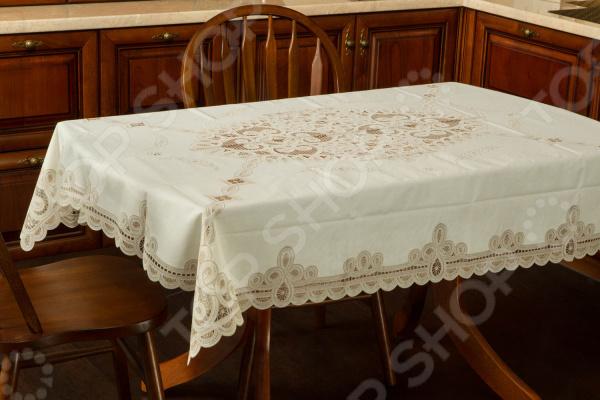 Скатерть ажурная TOWA LegendСкатерти. Салфетки<br>Кухня и столовая пожалуй самые важные комнаты в доме, ведь они становятся местом встреч всей семьи. Уют в этих комнатах зависит не только от правильно подобранного интерьера, мебели или элементов декора. Особую роль в создании комфортной для всей семьи атмосферы играет домашний текстиль. Внимание нужно уделять не только гардинам, шторам и коврам, но так же и скатертям, которые способны мгновенно преобразить вашу комнату, привнести нотку торжественности и непревзойденного лоска. Скатерть ажурная TOWA Legend станет потрясающим украшением вашего кухонного стола. Нежный кружевной дизайн с красивыми элементами не только преобразит стол, сделав его более парадным и праздничным, но и гармонично впишется в интерьер любой комнаты. Прямоугольная скатерть выполнена по японский технологии, поэтому прослужит вам максимально долго. Скатерть выделяет высокая детализация элементов рисунка. Вас удивит тонкость изделия, которое ни в чем не уступает хорошей тонкотканной кружевной скатерти. Благодаря тому, что эта скатерть выполнена из прочного ПВХ, по характеристикам она даже превосходит классические модели. Вы сможете украсить этой скатертью праздничный стол, не боясь испортить столешницу или посадить на него пятно. Она не имеет тканевой основы, поэтому легка в обращении и не требует специального ухода. Благодаря материалу высокого качества изделие позволит изделию держать форму, и даже после смятия принимать исходное состояние.<br>