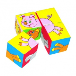 фото Кубики обучающие мягкие Мякиши «Собери картинку. Домашние животные»