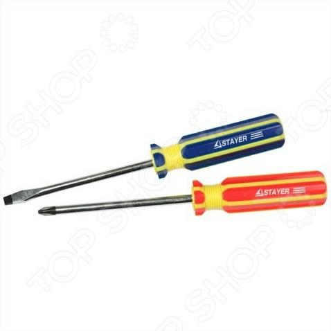 Набор отверток Stayer Master 2513-H2Наборы отверток<br>Набор отверток Stayer Master 2513-H2 предназначен для монтажных, крепежных или ремонтных работ с резьбовыми соединениями, имеющими рабочие профили SL6 и PH2. Оптимальная комплектация, проверенное временем качество инструмента удовлетворит потребности не только любителя, но и профессионала. Стрежни отверток изготовлены из хромо-ванадиевой стали. Намагниченные наконечники покрыты специальным износостойким и антикоррозийным слоем, поэтому отвертки прослужат долго. Эргономичные ручки обеспечат надежный и удобный захват в процессе работы. Кроме того, покрытие ручек устойчиво к масло- и бензосодержащим веществам.<br>
