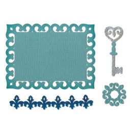 фото Набор форм для вырубки Sizzix Thinlits Die Медальон, ключ и этикетка