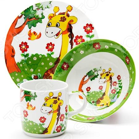 Набор посуды для детей Loraine LR-24020 «Жираф» набор посуды loraine фея lr 24026 3 предмета детский