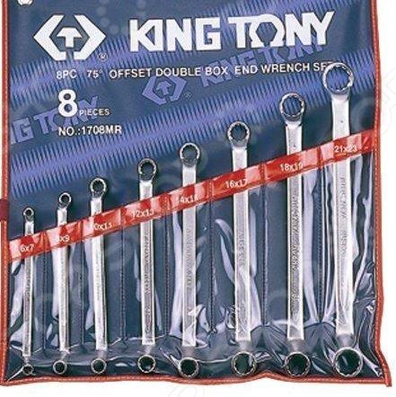 Набор ключей накидных King Tony KT-1708MRНакидные ключи<br>Набор ключей накидных King Tony KT-1708MR представляет собой набор ручных слесарных инструментов, используемых для завинчивания и отвинчивания крепежных деталей. Он незаменим для выполнения монтажных и демонтажных работ у вас дома, на даче, в гараже и т.д. В комплект входят восемь накидных ключей различного диаметра 6х7, 8х9, 10х11, 12х13, 14х15, 16х17, 18х19, 21х23 мм . Изделия выполнены из высококачественных прочных материалов, практичны и долговечны в использовании. Инструменты упакованы в чехол для хранения и переноски.<br>