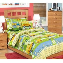 фото Ясельный комплект постельного белья Бамбино «Машинки». Цвет: зеленый