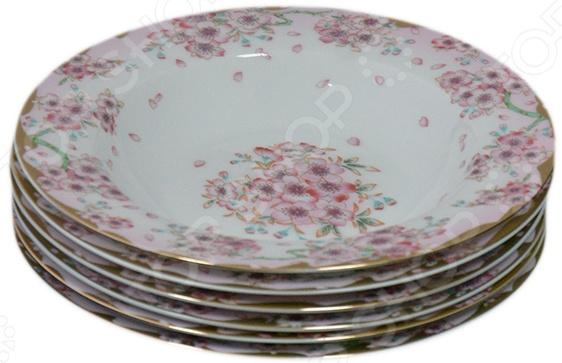 Набор суповых тарелок Elan Gallery «Сакура»Суповые тарелки<br>Набор суповых тарелок Elan Gallery Сакура красочная посуда с высококачественным покрытием, которая внесет разнообразие в сервировку семейного стола. Станет отличным подарком для любителей стильных вещей. Материал абсолютно безопасен и не вступает в реакцию с продуктами, а так же не влияет на запах и вкус.<br>