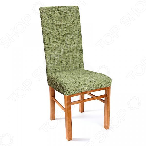 Натяжной чехол на стул «Плиссе. Фисташковый»Другие чехлы на мебель<br>Натяжной чехол на стул Плиссе. Фисташковый подарит вторую жизнь старому стулу. Вам надоело однообразие, хотите обновить приевшийся интерьер Совсем не обязательно для этого покупать новую мебель, ведь сегодня можно легко подобрать красивый чехол из богатого ассортимента. При этом изделие выполняет не только эстетическую функцию, но и защитную: от случайных пятен, царапин, протирания и шерсти животных.  Однако чехол окажется полезен и в другой ситуации. Допустим, вы сделали ремонт в комнате, и старый стул уже не вписывается по стилю в интерьер помещения. Не беда! Просто подберите подходящий чехол и готово. Он без особого труда надевается на стулья практически любого типа и также легко снимается. Изделие сшито из приятной на ощупь ткани, обладающей следующими свойствами:  прочность и износостойкость;  хорошая растяжимость благодаря эластичным нитям в составе ткани;  устойчивость к деформации даже после стирки ;  долго сохраняет свой оригинальный цвет.  Материал не требует особого ухода. Допускается ручная или машинная стирка при температуре от 30 до 40 C без применения отбеливающих средств. Одежда для вашей мебели Способов обновить старую мебель не так много. Чаще всего приходится ее выбрасывать, отвозить на дачу или мириться с потертостями и поблекшими цветами. Особенно обидно избавляться от мебели, когда она сделана добротно, но обивка подвела. Эту проблему решают съемные чехлы для мебели, быстро набирающие популярность в России.  Незаменимы чехлы для мебели в домах с маленькими детьми и домашними животными, в гостиных, где устраиваются застолья и посиделки, в интерьерах офисов. В съемных квартирах они помогут сохранить чистоту и гигиеничность. Но все-таки главное их предназначение это эстетическое обновление интерьера. Узнайте больше о плюсах приобретения еврочехлов:  Дизайн еврочехлов исполнен в русле самых свежих трендов рынка интерьерного текстиля. В линейке еврочехлов вы найдете подходящий вар