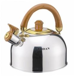 фото Чайник со свистком Zeidan Z-4117. Цвет: светло-коричневый, серебристый