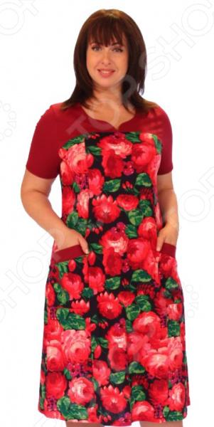 Платье Матекс «Букет пионов»Повседневные платья<br>Платье Матекс Букет пионов это легкое платье, которое поможет вам создавать невероятные образы, всегда оставаясь женственной и утонченной. Благодаря свободному крою оно скроет недостатки фигуры и подчеркнет достоинства. В этом платье вы будете чувствовать себя блистательно в любой ситуации. Женственная длина ниже колена великолепно подойдет для любого типа фигуры. Можно отметить следующие преимущества:  Оригинальный вырез горловины.  Имеются 2 небольших накладных кармана спереди.  Короткие рукава скрывают недостатки в области плеч. Платье изготовлено из легкой ткани 95 хлопок, 5 полиэстер , благодаря натуральной ткани, в платье будет очень комфортно в жаркое время. Даже после длительных стирок и использования платье будет выглядеть прекрасно.<br>