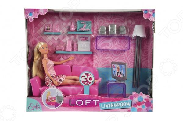 Кукла с аксессуарами Simba Штеффи в гостинойКуклы<br>Кукла с аксессуарами Simba Штеффи в гостиной понравится любой девочке. Кукла это интересная и полезная игрушка для любой девочки. Такая игрушка оставляет простор для фантазий ребенка, дает возможность самостоятельно придумывать новые игры и с помощью таких игр адаптироваться в реальном мире. Эта кукла надолго станет настоящим другом вашему ребенку. Теперь у Штеффи есть своя собственная гостиная, где она сможет проводить свободное время и куда можно пригласить ее друзей. Все в гостиной выполнено в любимом розовом цвете этой модницы. Штеффи может полежать на диване и посмотреть телевизор, пообщаться с друзьями с помощью своего ноутбука или просто насладиться чашкой ароматного чая с конфетами.<br>