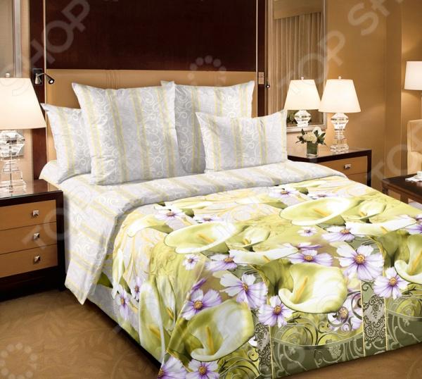 Комплект постельного белья Королевское Искушение «Амалия». 2-спальный2-спальные<br>Комплект постельного белья Королевское Искушение Амалия это незаменимый элемент вашей спальни. Человек треть своей жизни проводит в постели, и от ощущений, которые вы испытываете при прикосновении к простыням или наволочкам, многое зависит. Чтобы сон всегда был комфортным, а пробуждение приятным, мы предлагаем вам этот комплект постельного белья. Приятный цвет и высокое качество комплекта гарантирует, что атмосфера вашей спальни наполнится теплотой и уютом, а вы испытаете множество сладких мгновений спокойного сна. В качестве сырья для изготовления этого изделия использованы нити хлопка. Натуральное хлопковое волокно известно своей прочностью и легкостью в уходе. Волокна хлопка состоят из целлюлозы, которая отлично впитывает влагу. Хлопок дышит и согревает лучше, чем шелк и лен. Поэтому одежда из хлопка гарантирует владельцу непревзойденный комфорт, а постельное белье приятно на ощупь и способствует здоровому сну. Не забудем, что хлопок несъедобен для моли и не деформируется при стирке. За эти прекрасные качества он пользуется заслуженной популярностью у покупателей всего мира. Комплект постельного белья Королевское Искушение Амалия выполнен из ткани перкаль. Перкаль великолепный по своим практическим и эстетическим качествам материал, который нередко ставится в один ряд с натуральным шелком и высококачественным сатином. Эта ткань является одновременно тонкой и прочной, плотной и легкой, приятной на ощупь и очень красивой, по истине королевской. Поэтому коллекция постельного белья из перкаля и получила название Королевская . Преимущества комплектов белья из перкаля следующие:  Натуральность и экологичность материалов;  Долговечность, прочность и износостойкость белья;  Красивые, стильные и актуальные расцветки;  Большой выбор размеров и комплектации наборов. Даже невооруженным глазом можно заметить, что перкаль тонкий материал, из-за чего некоторые считают сшитые из него текстильные и