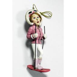 фото Елочное украшение-подвеска Crystal Deco «Дама на лыжах»