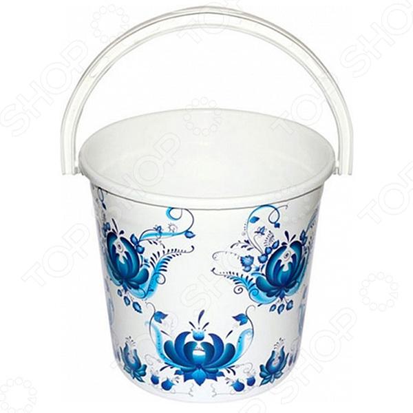 Ведро круглое Violet 0110/78 «Гжель»Ведра. Тазы<br>Ведро круглое Violet 0110 78 Гжель - практичная и удобная модель, которая необходима в любом хозяйстве. Модель оснащена удобной ручкой эргономичной формы, что обеспечивает удобный захват. Ведро обладает прочными стенками, устойчиво к воздействию воды и жира, а так же, не деформируется при перепадах температуры. Модель предназначена для транспортировки и хранения жидких, сыпучих, твердых и пастообразных пищевых и не пищевых продуктов.<br>