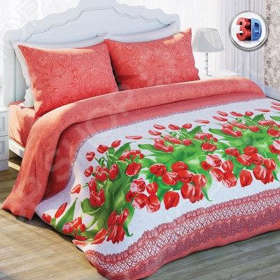 Комплект постельного белья Любимый дом Красные тюльпаны. 1,5-спальный