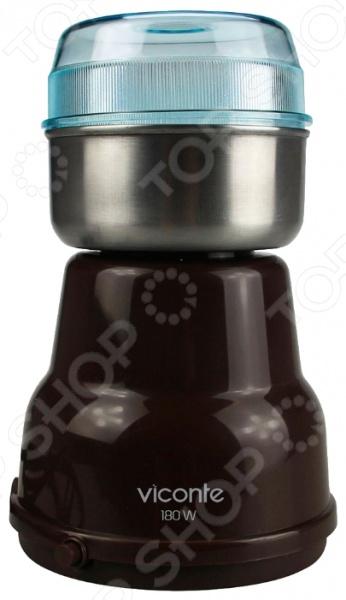 Кофемолка Viconte VC-3103Кофемолки<br>Кофемолка Viconte VC 3103 очень полезное устройство с эргономичным дизайном, которое, без сомнений, пригодится в каждом доме. Истинные любители кофе и кофейных напитков обязательно оценят его по достоинству. Особенно те, которые привыкли молоть зерна вручную. Кофемолка значительно ускорит этот процесс, а результат будет гораздо более качественным. Прочный корпус из пластика и прозрачная крышка обеспечат легкость и удобство использования, а мощный ротационный нож из нержавеющей стали измельчит зерна за считанные секунды. Система защиты от перегрева предотвратит выход устройства из строя и обеспечит безопасное его отключение в случае, если вас не оказалось рядом. Для измельчения крупных и твердых зерен доступен специальный импульсный режим . Объем чаши для зерен составляет 50 грамм. Мощность устройства 180 Вт.<br>
