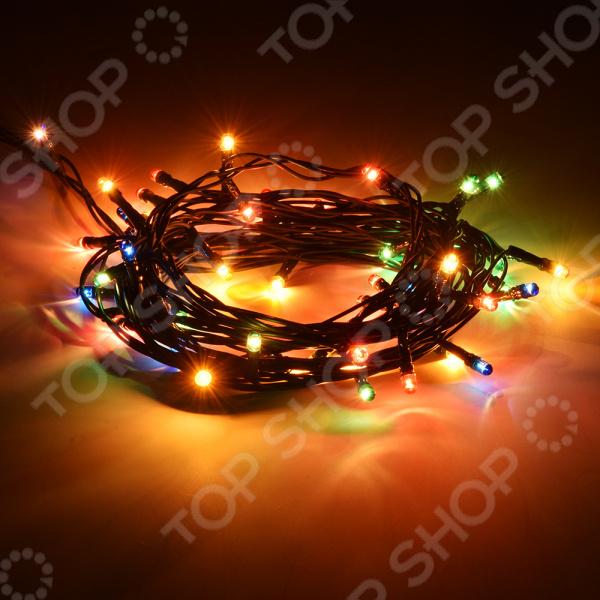 Электрогирлянда VEGAS «Нить» 55057Гирлянды<br>Без гирлянд нет праздника Электрогирлянда VEGAS Нить 55057 поможет вам создать по-настоящему праздничную атмосферу в канун Рождества и Нового Года. Это классическое современное украшение, которое пришло на смену старинным гирляндам. Сегодня вместо новогодних свечей используются разноцветные лампочки, которые, в отличии от своих предшественников, безопасны в использовании. Нитью можно украсить новогоднюю елку, стены и двери в помещении, а также, вывесить огоньки на крытый балкон, чтобы радовать взгляды прохожих и соседей.  Гирлянда обладает рядом преимуществ, которые выделяют ее среди аналогов:  высокое качество;  долговечность;  многофункциональность. Качество и функциональность Изделие состоит из провода зеленого цвета, на котором закреплены сотня маленьких лампочек-рисинок. Гирлянда способна производить четыре оттенка свечения: красный, желтый, зеленый и синий. Цвет провода предусмотрен специально для украшения ели, чтобы создавался эффект рассыпанных по дереву независимых огоньков. Десятиметровый шнур позволяет обильно украсить любое место или поверхность. К гирлянде предусмотрена пластиковая коробка контроллера, который работает в восьми режимах. Таким образом вы самостоятельно можете настроить эффект мерцания и смены цвета.  Данная модель гирлянды питается от сети с напряжением 220 V. В комплект к изделию предусмотрены батарейка, питающая контроллер. Все провода изолированы, что позволяет безопасно прикасаться к проводу руками. Производитель рекомендует использовать украшение внутри помещения во избежание перегорания контактов и преждевременной поломки гирлянды. Приобретите данную модель электрогирлянды и вдохните в ваш дом новогоднее настроение и семейную атмосферу!<br>