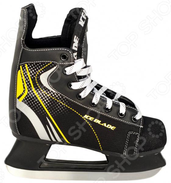 Коньки хоккейные ICE BLADE SharkКоньки хоккейные<br>Коньки хоккейные ICE BLADE Shark прекрасно подойдут как для простого катания на льду, так и для активных игр в хоккей. Представленная модель выполнена в модном, ярком дизайне и дополнена контрастным рисунком. Коньки рекомендованы для катания на открытом или закрытом льду и могут использоваться в коммерческих целях. Удобная система фиксации ноги сделает ваше пребывание на льду невероятно комфортным и безопасным. Ботинок изготовлен из качественных высокопрочных материалов, а внутренняя часть обработана вельветином с утеплением. Лезвия же коньков выполнены из высокоуглеродистой стали с никелевым покрытием, что гарантирует прочность и долговечность. Они уже заточены, а значит вы можете сразу приступать к катанию, а не тратить время и деньги на первую заточку. Для удобства хранения и транспортировки, коньки поставляются в сумке.<br>