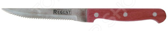 Нож Regent для стейка EcoНожи<br>Нож Regent Eco с зубчатым лезвием из высококачественной нержавеющей стали станет незаменимым на вашей кухне. Благодаря особой форме режущей кромки, модель идеально подойдет для нарезки и сервировки стейков. Лезвие долго остается острым, а цельнокованный клинок гарантирует долговечность изделия. Эргономичная объемная рукоять удобно ложится в ладонь, чтобы рука не уставала от долгой работы. Она выполнена из дерева, поэтому проста в уходе и очень надежна. Рельефная поверхность обеспечит надежный захват и не даст ножу скользить в руке при использовании. С ножом Regent Eco, вы почувствуете себя профессиональным шеф-поваром, который создает кулинарные шедевры день за днем.<br>