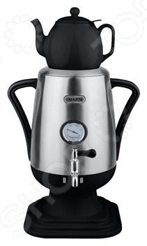 Самовар электрический Marta MT-1001Термопоты<br>Самовар электрический Marta MT-1001 с заварочным чайником соберет вокруг себя ваших друзей и близких. Дом наполнится атмосферой уюта, добрых традиций, гармонией. Стоящий на самоваре заварочный чайник объемом 1 литр, мгновенно нагревается. При этом аромат заварки раскрывается, образуя удивительный букет вкуса. Электрический самовар полностью передает букет специй и трав ароматного чая. Модель оснащена нагревательным элементом закрытого типа, функцией блокировки включения без воды, термометром для индикации температуры и съемным фильтром для регулировки крепости чая в заварочном чайнике. Благодаря стильному дизайну, самовар MARTA MT-1001 впишется в любую современную кухню.<br>