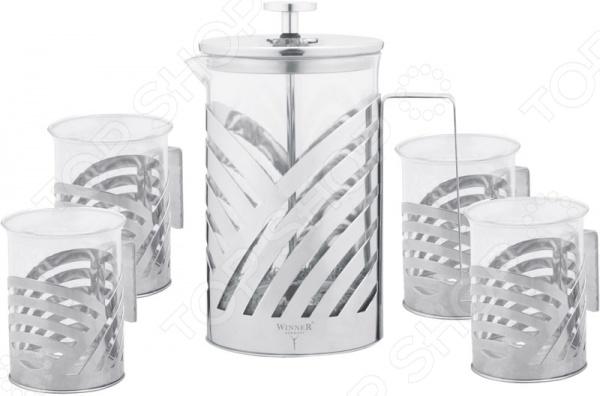 Чайный набор Winner WR-5204Чайные и кофейные наборы<br>Набор чайный Winner WR-5204 это сочетание непревзойденного качества и стильного современного дизайна. Он станет отличным дополнением к комплекту аксессуаров и принадлежностей для кухни и внесет яркий акцент в сервировку стола. В набор входит пять предметов: френч-пресс и четыре кружки. Френч-пресс представляет собой устройство для приготовления чая и кофе путем настаивания и последующего отжима заваренного напитка при помощи специального поршня. Корпус заварочного чайника и чашек выполнен из высококачественного жаропрочного стекла, устойчивого к перепадам температур.<br>