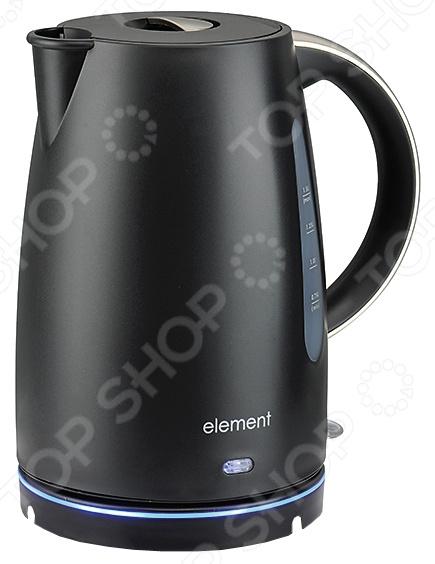 Чайник Element ElKettle WF08PBЧайники электрические<br>Удобный и простой в использовании чайник Element El 39;Kettle WF08PB изготовлен из высококачественного термостойкого пластика. При нагревании данный материал не выделяет вредных веществ, что исключает возникновение любых посторонних запахов или привкусов. Благодаря мощности в 1850-2200 Вт и нагревательному элементу скрытого типа, представленная модель быстро вскипятит воду объемом до 1,5 литров. На рынке бытовой техники этот прибор пользуется неизменной популярностью благодаря высокому качеству, безопасности и удобству в использовании. Element El 39;Kettle WF08PB оснащен индикатором включения выключения, двухсторонней шкалой уровня воды и нейлоновым фильтром против накипи. Цоколь с центральным контактом контактная группа Otter позволяет поворачивать прибор на 360 . Ровная голубая подсветка подставки позволяет видеть чайник даже ночью. В целях безопасности имеются функции блокировки включения без воды, автоматического выключения при закипании или во время перепадов электроэнергии. Благодаря стильному дизайну, чайник Element El 39;Kettle WF08PB впишется в любую современную кухню.<br>