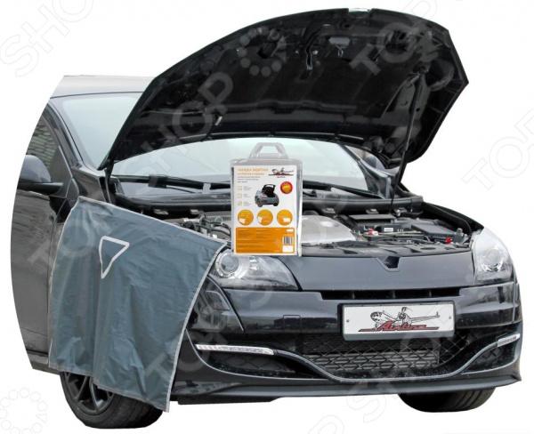 Накидка защитная на бампер и крылья Airline AO-PC-17Накидки на сидения. Накладки на ремни<br>Airline AO-PC-17 это современная, удобная и очень практичная защитная накидка на бампер, крылья или в багажник. Представленная модель убережет вашу одежду от грязи, а ЛКП автомобиля от всевозможных повреждений во время ремонта в моторном отсеке или при проведении погрузочно-разгрузочных работ. Также вы можете постелить изделие вместо коврика в багажник или под колени при замене колеса. Крепится накидка на магнит и ленты-липучки, а также имеет светоотражающий знак аварийной остановки. Она выполнена из прочного и легко моющегося полиэстера. Размер накидки составляет 100х72 см.<br>