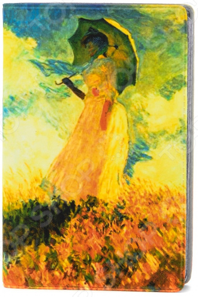 Визитница Mitya Veselkov «Клод Моне - Дама с зонтиком» картина из кожи дама с зонтиком моне коллекция elole interior синий сплошн холст прямоуг рама