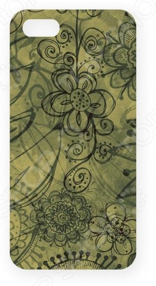 Чехол для IPhone 5 Mitya Veselkov «Цветы». Фон: зеленый