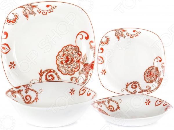 Набор столовой посуды OlAff «Красные цветы». Количество предметов: 19 набор столовой посуды olaff эстелла