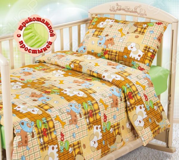 Ясельный комплект постельного белья Бамбино «Тузик» с трикотажной простыней