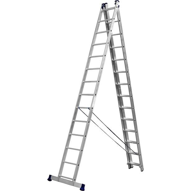 фото Лестница трехсекционная со стабилизатором Сибин 38833. Количество ступеней: 14