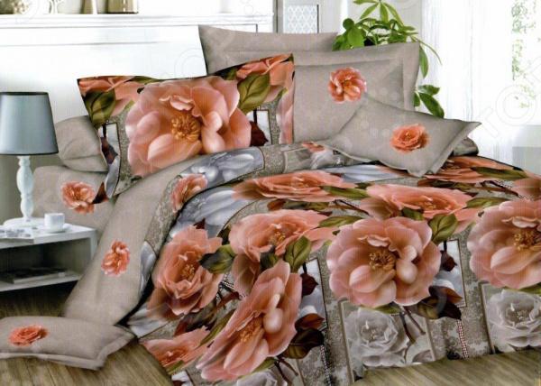 Комплект постельного белья «Розовый пион». Евро