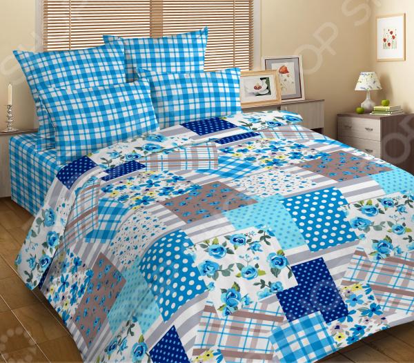 Комплект постельного белья DIANA P&W «Голубой печворк». 1,5-спальный