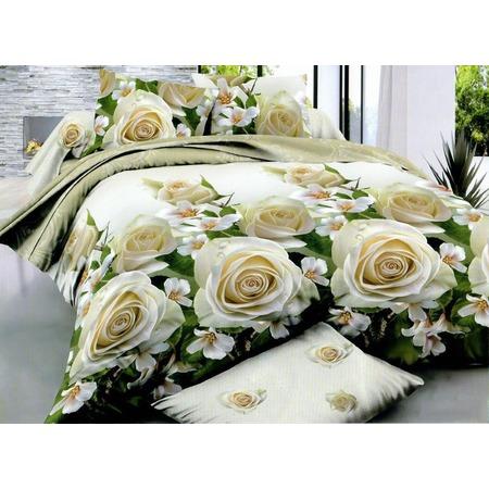 Комплект постельного белья «Дикая роза». Евро. Цвет: белый