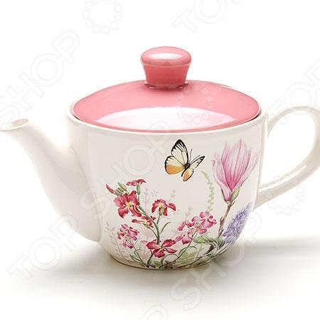 Чайник заварочный Loraine LR-25638 «Бабочки» чайник заварочный loraine lr 23768 0 7л белый с рисунком ромашки