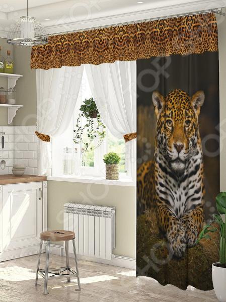 Комплект штор для окна с балконом ТамиТекс «Леопард»
