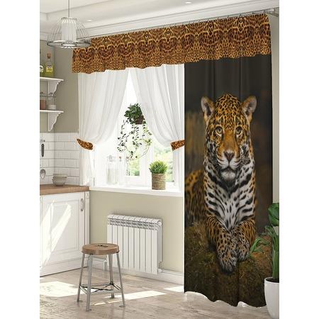 Купить Комплект штор для окна с балконом ТамиТекс «Леопард»