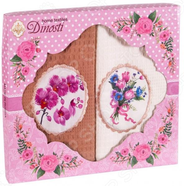 Комплект из 2-х кухонных полотенец Dinosti «Орхидея» комплект из 3 х кухонных полотенец dinosti розовые хрюшки