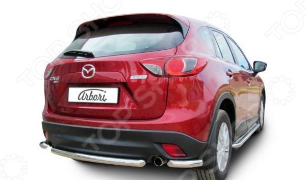 Защита заднего бампера Arbori Mazda CX-5, 2011 защита заднего бампера rival r 3803 007 комплект крепежа mazda cx 5 2011 2015 2017