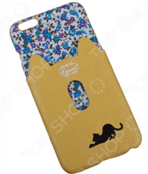 Чехол для iPhone 6/6S Plus «Черная кошка с желтым кармашком»
