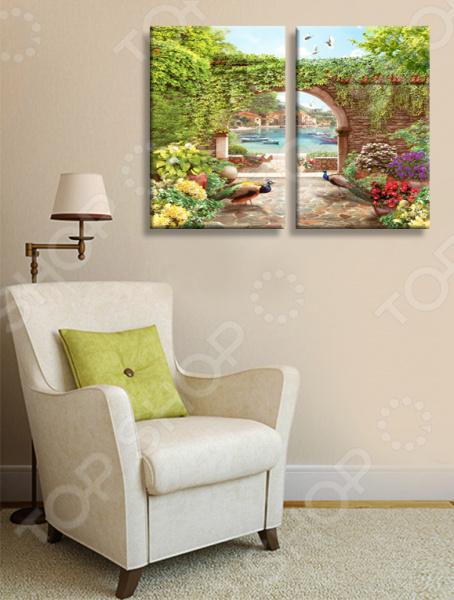 Картина модульная ТамиТекс «Сад с павлинами» цена 2017