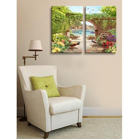 Купить Картина 2- модульная ТамиТекс «Сад с павлинами»