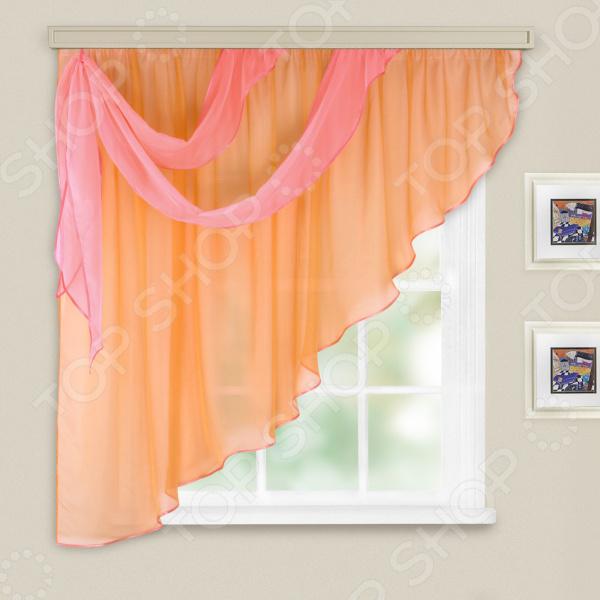 Комплект легких штор левосторонний WITERRA «Азалия». Цвет: персиковый