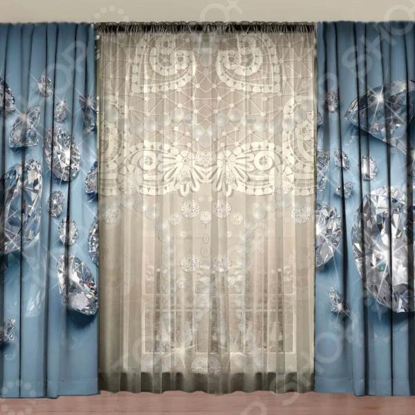 Комплект фотоштор с тюлем ТамиТекс «Бриллиантовая россыпь»