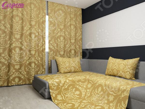 Комплект: фотошторы и покрывало Сирень «Золотые вензеля» фотошторы сирень фотошторы оттенки цветов